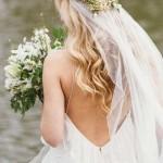 lang blond hochzeitsfrisuren mit schleier
